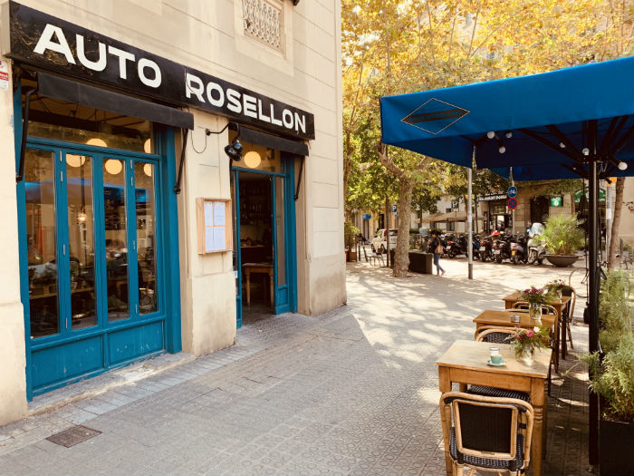 "The former garage, known as ""auto rosellon"", is now a café"