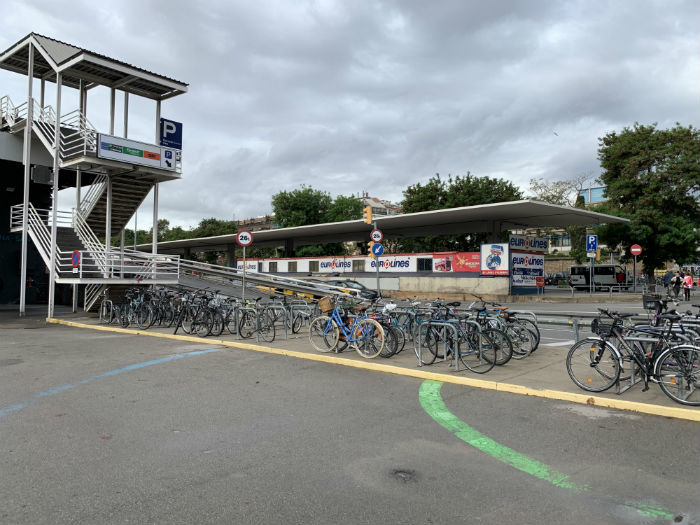 Near the main station, bike parking is noticeably not yet a priority
